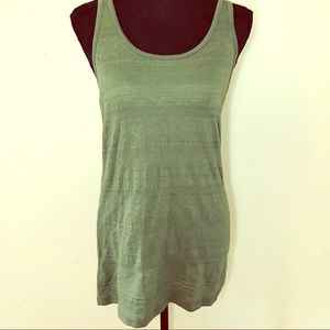 Olive Green Embroidery Print Tank Top